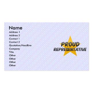 Representante orgulhoso cartão de visita