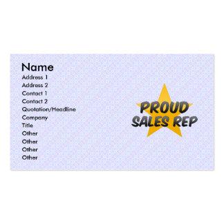 Representante orgulhoso das vendas modelo cartões de visitas