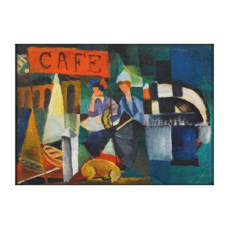 Reprodução azul da arte do expressionista do café impressão em canvas