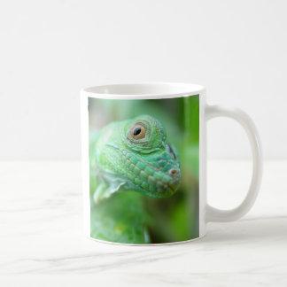 Réptil verde do lagarto da iguana na caneca da