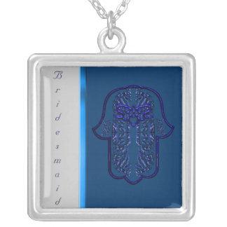 Repto da mão de Hamsa: Coração (casamento) (azul) Colar Com Pendente Quadrado