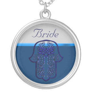 Repto da mão de Hamsa: Coração (casamento) (azul) Colar Com Pendente Redondo
