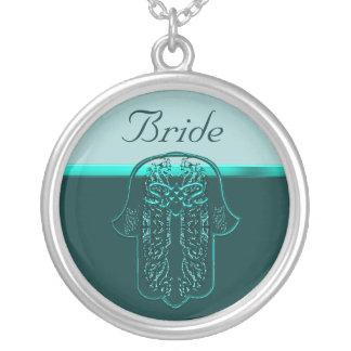 Repto da mão de Hamsa Coração casamento cercet Colar Personalizado