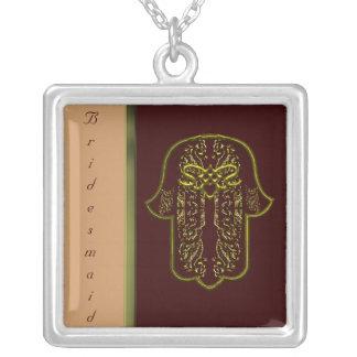 Repto da mão de Hamsa: Coração (casamento) (ouro) Colar Com Pendente Quadrado