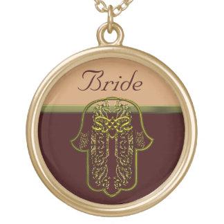 Repto da mão de Hamsa: Coração (casamento) (ouro) Colar Com Pendente Redondo