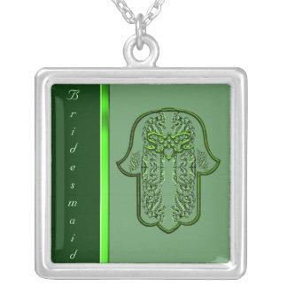 Repto da mão de Hamsa: Coração (casamento) (verde) Colar Com Pendente Quadrado