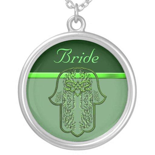 Repto da mão de Hamsa: Coração (casamento) (verde) Colar Personalizado