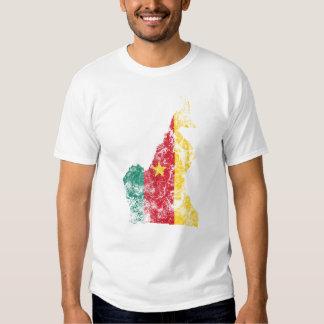 República dos Camarões afligiu a bandeira Tshirt