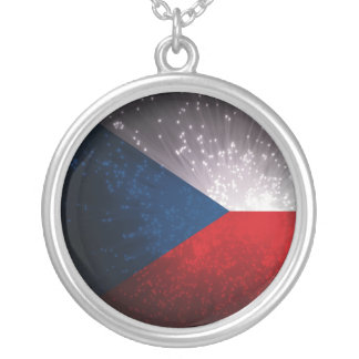Republika de Česká; Bandeira checa Colar Com Pendente Redondo