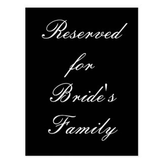 Reservado para a família da noiva cartões postais