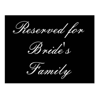 Reservado para a família da noiva cartao postal