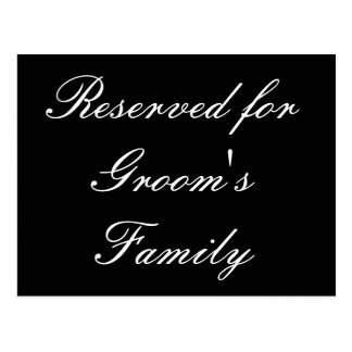 Reservado para a família do noivo cartão postal