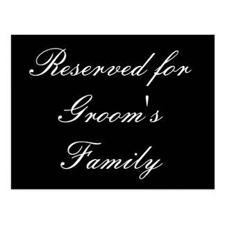 Reservado para a família do noivo cartões postais