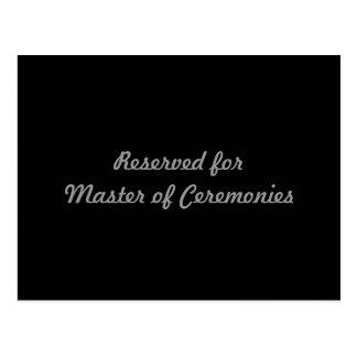 Reservado para o mestre de cerimónias cartão postal