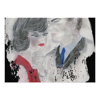 Respingo retro do casal dos anos 60 convite