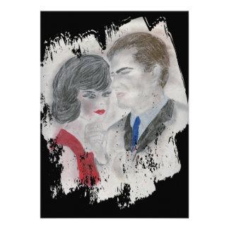 Respingo retro do casal dos anos 60 convite personalizado