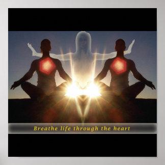 Respire a vida através do coração pôster