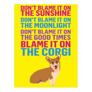 Responsabilize-o no cão engraçado do Corgi Cartão Postal