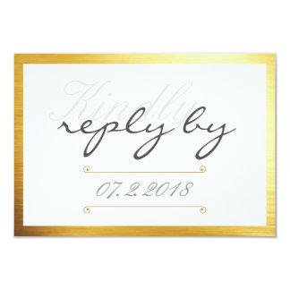 Resposta amável da guarnição do ouro que Wedding o Convite 8.89 X 12.7cm