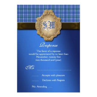 RESPOSTA do casamento do marrom azul do Tartan Convite Personalizado