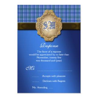 RESPOSTA do casamento do marrom azul do Tartan Convite 12.7 X 17.78cm