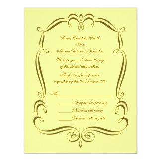 Resposta RSVP do casamento do quadro do redemoinho Convite 10.79 X 13.97cm