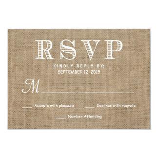 Resposta rústica do casamento da tipografia de convite 8.89 x 12.7cm