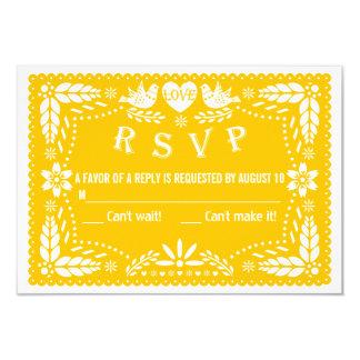 Resposta wedding amarela dos pássaros RSVP do amor Convite 8.89 X 12.7cm
