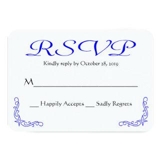 Resposta Wedding floral azul & branca do vintage Convite 8.89 X 12.7cm
