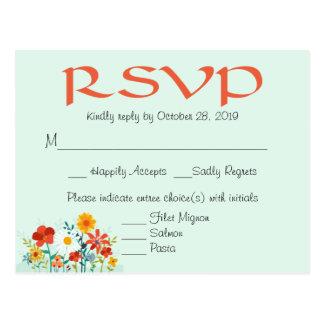 Resposta Wedding floral da hortelã RSVP do Cartão Postal