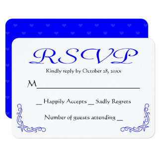 Resposta Wedding floral do azul cobalto & a branca Convite 8.89 X 12.7cm
