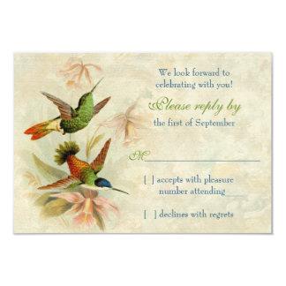 Resposta Wedding floral do vintage RSVP do colibri Convite 8.89 X 12.7cm
