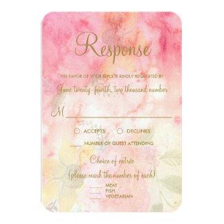 Resposta Wedding formal cor-de-rosa floral da Convite 8.89 X 12.7cm