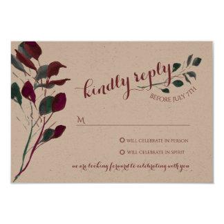 Resposta Wedding rústica da ameixa | Convite 8.89 X 12.7cm