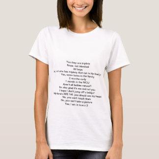 Respostas às perguntas das objectivas triplas camiseta