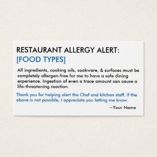 Restaurante da alergia de comida & cartão do GELO