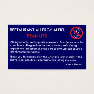Restaurante da alergia do amendoim & cartão do