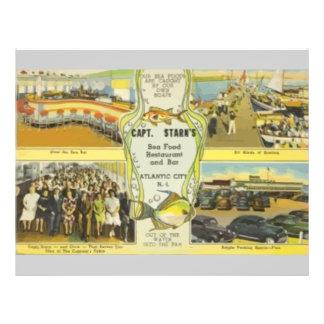 Restaurante do capitão Starn S e bar Atlantic City Panfleto Coloridos
