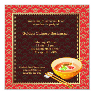Restaurante do chinês da grande inauguração convite