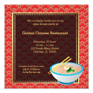 Restaurante do chinês da grande inauguração convite quadrado 13.35 x 13.35cm