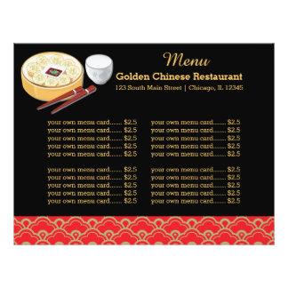 Restaurante do chinês do menu panfleto personalizado