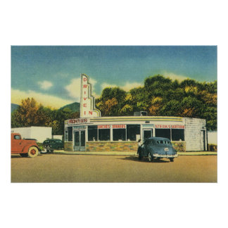 Restaurante do vintage, movimentação do 50 no come poster