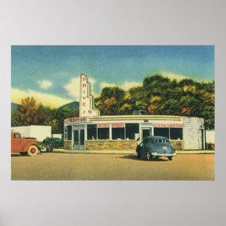 Restaurante do vintage, movimentação do 50 no poster