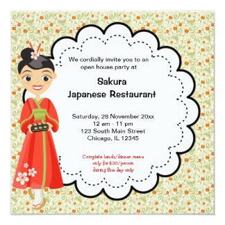 Restaurante japonês da grande inauguração convite quadrado 13.35 x 13.35cm