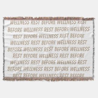 Resto antes do lance do bem-estar manta