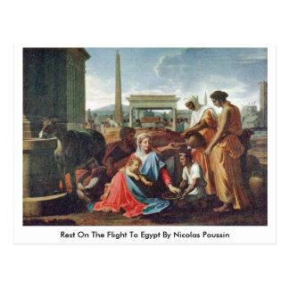 Resto no vôo a Egipto por Nicolas Poussin Cartão Postal
