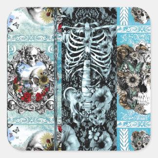 Retalhos, colagem ornamentado do crânio adesivo quadrado