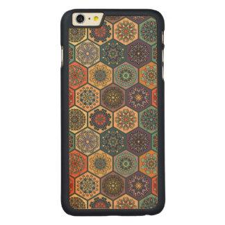 Retalhos do vintage com elementos florais da capa para iPhone 6 plus de bordo, carved