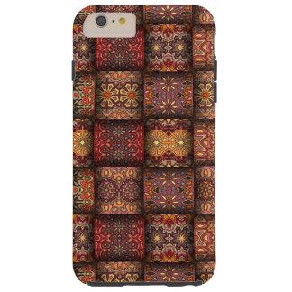 Retalhos do vintage com elementos florais da capa tough para iPhone 6 plus