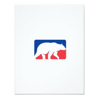 Retângulo de passeio da silhueta do urso de urso convite 10.79 x 13.97cm